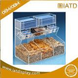 Support acrylique de signe d'étalage de plexiglass transparent de trois côtés