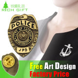 Änderung- am ObjektprogrammBadge goldene Zink-Legierungs-Polizei mit Firmenzeichen-Entwurf