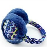 겨울 간명 여자의 뜨개질을 한 견면 벨벳 가짜 모피 귀덮개