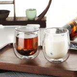 vetro bevente di caffè 10oz della tazza della tazza di vetro rotonda doppia dell'acqua