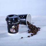12oz de la pared de Papel rizado caliente de café de la copa con tapa