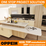 Быстрая доставка Oppein меламина ламината дерева оптовой кухня шкаф (OP14-K004)