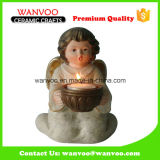 Adorável Popular Stoneware Couple Angel Candle Holder para casa ornamento
