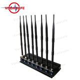 Emittente di disturbo registrabile del cellulare delle 8 fasce, emittente di disturbo portatile del segnale del telefono mobile 3G per l'isolante del segnale del telefono mobile della radio a frequenza ultraelevata di VHF del telefono delle cellule di 2g 3G 4G