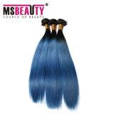 Uitbreiding van het Menselijke Haar van het Weefsel van de Kleur van het Haar van het Vlechten van de Kleur van Ombre de Donkerblauwe
