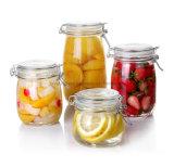 Effacer le stockage des aliments pot de verre étanche avec clip couvercle