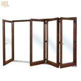 Portello di vetro Bifold esterno di nuovo di disegno 2018 di alluminio legno della lega