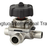 Válvula de diafragma sanitaria, válvula de parte inferior del tanque, válvula de diafragma de 3 maneras