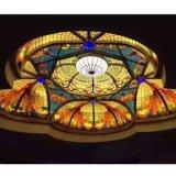 Binnenlandse Zaal die de Decoratieve Koepel van het Plafond van het Gebrandschilderd glas van Materialen voor Verkoop bouwen
