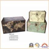 나무로 되는 장식적인 포도 수확 3의 베이지색 세계 지도 인쇄 저장 트렁크 세트