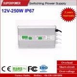 Fonte de alimentação impermeável IP67 do interruptor do diodo emissor de luz da tensão constante 12V 250W