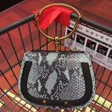 Las mujeres de lujo el diseñador de bolsos de cuero auténtico bolsas bolsas de hombro asa metálica con patrón de la serpiente el GGA5101