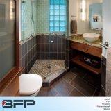 Armario de pared de madera veteada personalizado en la esquina con un cajón de la vanidad de baño