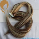 Bande de couleur de cheveux brésiliens de piano de la trame de la peau d'extension de cheveux