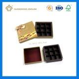 Rectángulo de regalo de empaquetado del chocolate de oro de lujo de la tarjeta 9PCS (con la ventana y el divisor)