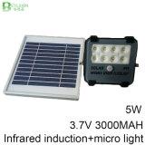luz de inundação solar do diodo emissor de luz do projector infravermelho do sensor 5W