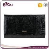 Бумажники женщин неподдельной кожи, черный бумажник крокодиловой кожи