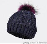 아크릴 자카드 직물 니트 모자 POM POM에 의하여 뜨개질을 하는 모자 베레모 모자