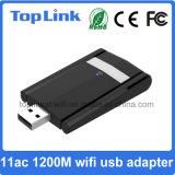 Tarjeta de red sin hilos de alta velocidad del USB 3.0 802.11AC 1200Mbps WiFi con la antena externa de Foldabl WiFi para el Dongle elegante de la TV