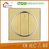 Interruptor de pulsador de oro de la luz de la pared del color 3G