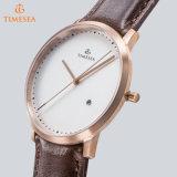 Reloj del análogo de cuarzo del Mens de la manera con la correa de cuero 72645