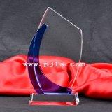 Tema preto troféu de cristal Award com jacto de areia e coloridos