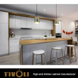 赤いカシは島デザイン食器棚Tivo-0267hが付いている基礎キャビネットのラッカー塗りの吊り戸棚に張り合わせた