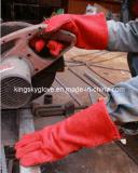 Перчатка работы заварки высокого качества коровы красного цвета Split
