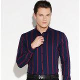 Camicia a strisce lunga convenzionale del collare di Pin del manicotto degli uomini di cotone
