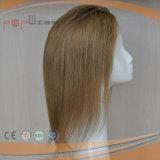 Часть волос белокурых человеческих волос фронта шнурка Silk верхняя