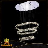 Luz pendiente inoxidable cristalina moderna del acero LED del hotel (KA10111-920)