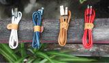 Cable de datos de cuero del cargador del USB 8pin de la PU para el iPhone
