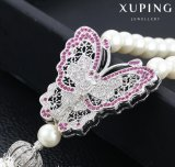 00193 New Arrival Luxury Fashion Zircon Butterfly Bead Pearls Necklace