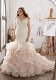 Платье венчания Lm3216 шнурка Organza мантии венчания Mermaid Bridal