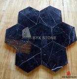 Azulejo de mármol blanco negro del piso del hexágono para el interior