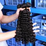unverarbeitetes lockiges brasilianisches Haar-Extensions-tiefes Wellen-Menschenhaar-spinnender Einschlagfaden 100% der Jungfrau-6A