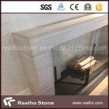 Laje de mármore de madeira muito direta e branca para lareira Mantel / Surround