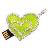 Diamante cristalino del corazón de la joyería del metal USB Flash Drive de memoria