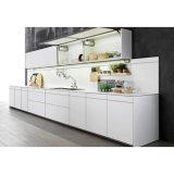 Grandshine流行の合理化された白いマットのラッカー木製の食器棚