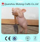 Figurines cor-de-rosa engraçados do porco da resina da decoração Home
