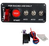 5 em 1 painel do interruptor de ignição do carro de competência 12V do painel da fibra do carbono com interruptor de começo do motor