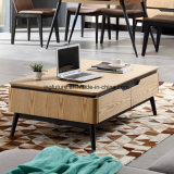 Mesa de café em madeira de nódulo natural com 4 gavetas