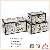 Conjunto de madera del rectángulo de regalo del rectángulo de almacenaje de la impresión de la lona de los muebles antiguos del tronco de madera 3