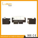 Insieme bianco del sofà dell'ammortizzatore del giardino di svago della mobilia di alluminio esterna del rattan