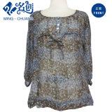 Точки зрения Mixedcolor Long-Sleeve Round-Collar Кнопка Bowknot Mulberry-Silk Sexy моды платья