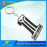 Modifica di gomma dell'anello chiave del PVC della plastica della lettera di marchio di Wholesale Custom Company con il prezzo basso (XF-KC-P08)