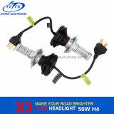 Aftermarket 40W 4500lm 6000k X3 LED Headlight Philips H4 Hi / Lo Auto farol de LED, farol de motocicleta LED, farol dianteiro LED
