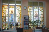 Salle de conception personnalisée Images d'arrière-plan Panneau de vitraux Motif
