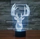 Luzes coloridas LED visuais visuais, luz decorativa decorativa LED 3D para presente de aniversário
