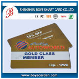 Carte d'adhésion en plastique de PVC de classe d'or